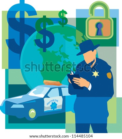 Collage of dollar signs, an unlocked padlock, a police officer writing a ticket, the world, and a police car - stock photo