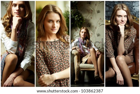 Collage of elegant girl in retro style looking at camera
