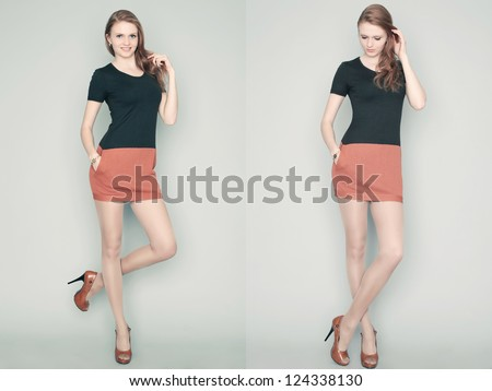 Collage of emotional portraits of a gorgeous red-haired fashion model posing in a stylish dress over gray background. studio shot