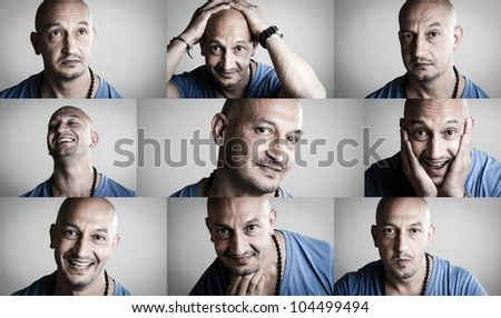 Collage of emotions featuring a shaved man in blue shirt - stock photo