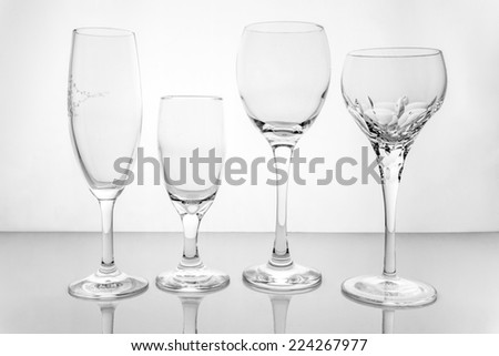 Collage of empty glasses