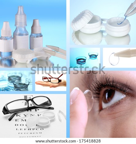 Collage of equipment for good vision, close-up - stock photo