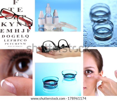 Collage of equipment for good vision close-up - stock photo