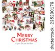 Collage of families celebrating Christmas against merry christmas - stock photo