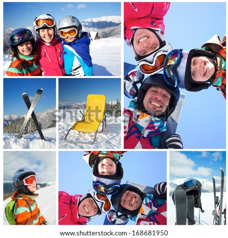 Collage of family in ski goggles and a helmet with his mother in the mountains - stock photo