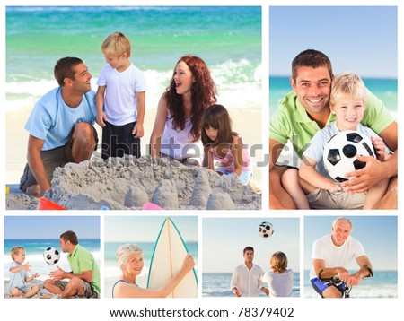 Collage of family members on a beach - stock photo
