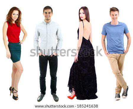 Collage of fashion models isolated on white - stock photo