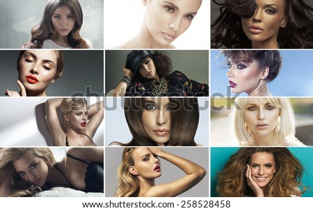 Collage of fashion portraits