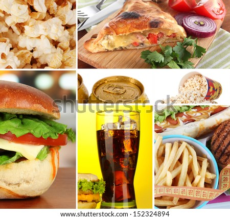 Collage of fast food - stock photo
