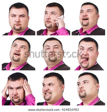 Collage of fat businessman with different emotions