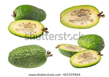 Collage of feijoa on the white background