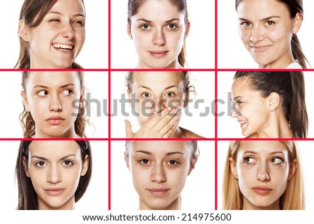 collage of female faces without makeup - stock photo