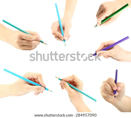 Collage of female hands with pencils, isolated on white