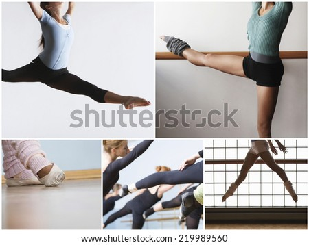 Collage of fit women practicing ballet dance - stock photo