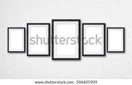 Collage Five Black Natural Wooden Frames Stock Photo (Royalty Free ...