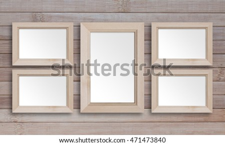 Collage Five Blank Wooden Photo Frames Stock Photo (Royalty Free ...