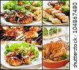 Collage of five different meals with chicken and salad - stock photo