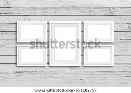 Collage Five Frames On Old White Stock Photo (Royalty Free ...