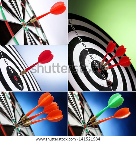 collage of five images,darts arrows in the target center