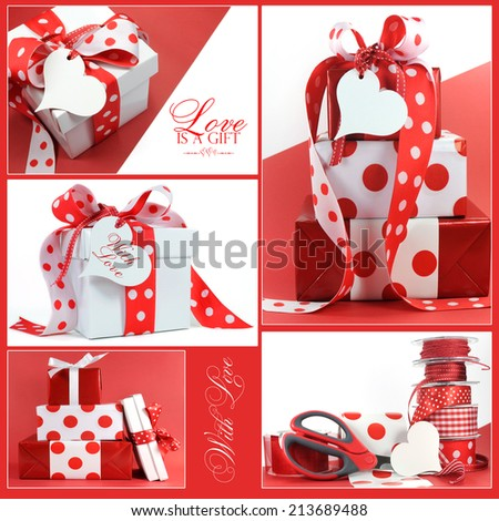 Collage of five red and white polka dot holiday gifts with sample text. - stock photo