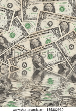 Collage of flooded Dollar Bills - stock photo