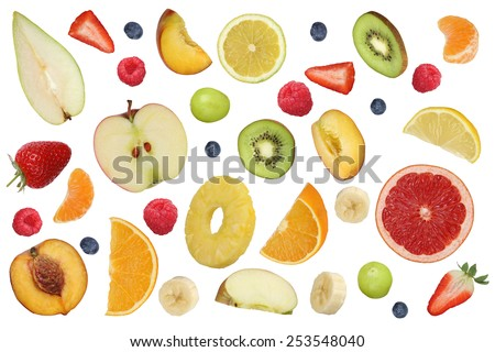 Collage of flying fruits like apples fruit, oranges, kiwi, peach, banana and strawberry - stock photo
