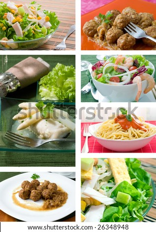 Collage of food related pictures with salad fish meatballs and pasta
