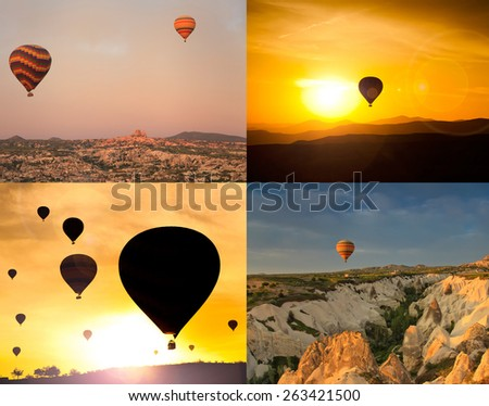 Collage of four images of flying balloons. - stock photo