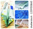 collage of four pictures of euro bills and european union flag - stock photo