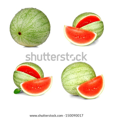Collage of four ripe, red watermelon isolated
