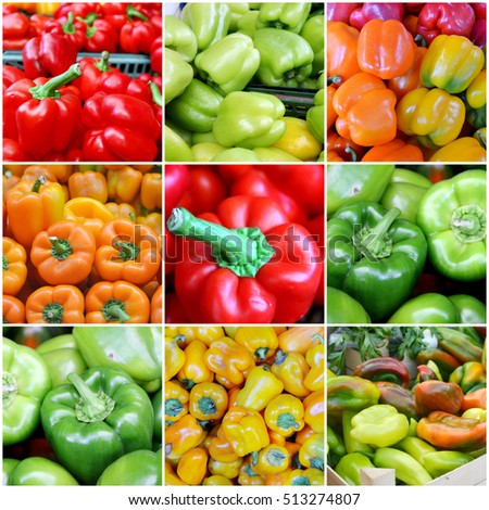 Collage of fresh and organic sweet red, green, orange and yellow bell peppers at the street market