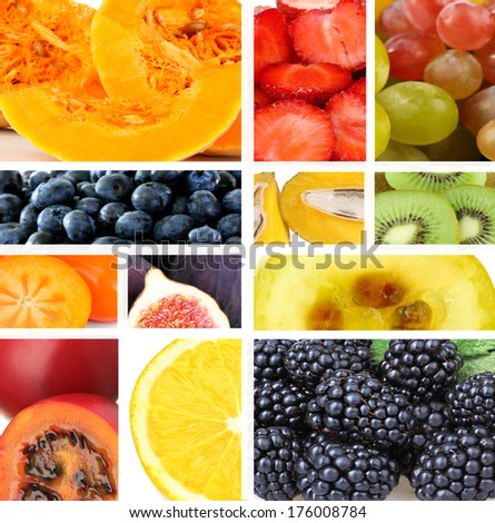 Collage of fresh fruits and berries - stock photo