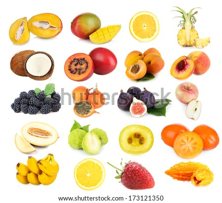 Collage of fresh fruits and berries isolated on white - stock photo