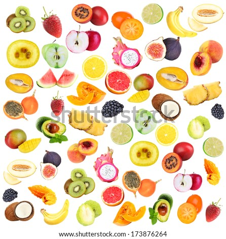 Collage of fresh fruits isolated on white - stock photo