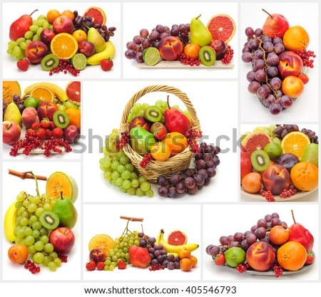 Collage of fresh fruits isolated over white background