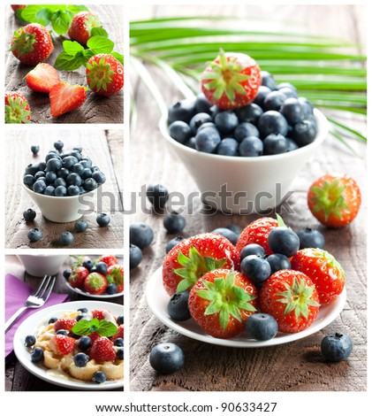 collage of fresh strawberries and bilberries