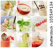 collage of fresh summer cocktails - stock photo