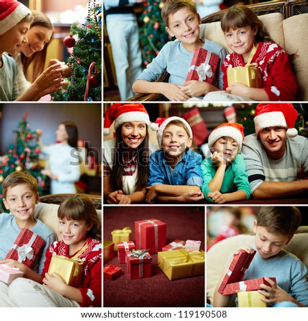 Collage of friendly family members on Christmas evening