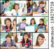 Collage of friendly teens in casual clothes studying in college - stock photo