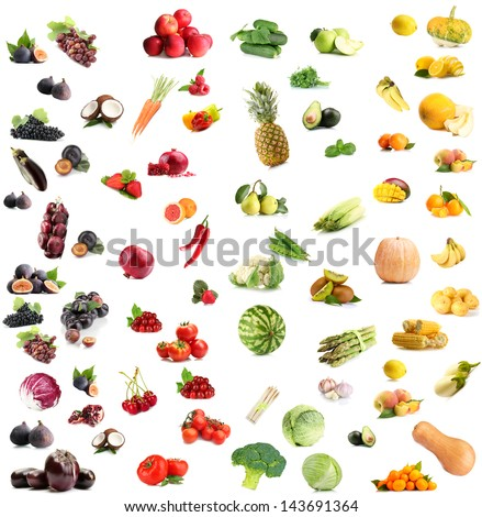 Collage of fruits and vegetables by color - stock photo