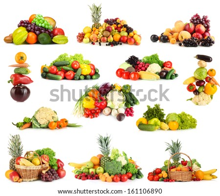 Collage of fruits and vegetables isolated on white - stock photo
