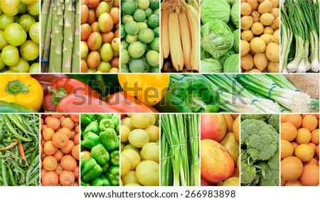 Collage of fruits and vegetables. Refreshing Summer background  - stock photo