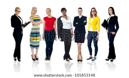 Collage of full length portraits of businesswomen and trendy casual teens