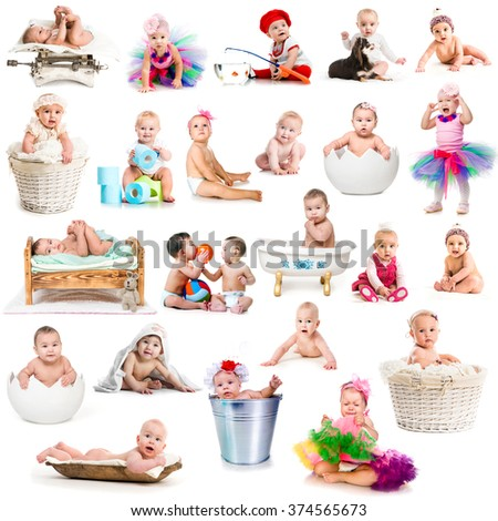collage of funny babies with decorations