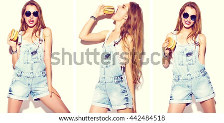 Collage of Funny crazy glamor stylish blonde sexy smiling beautiful young  woman model in summer bright hipster jeans cloth eating hamburger