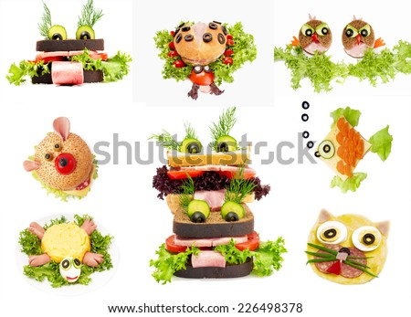 Collage of funny sandwich for child, isolated on white background.  - stock photo