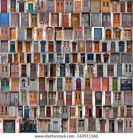 Collage of  Georgia front doors - stock photo