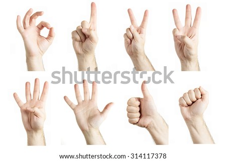 Collage of gestures showing by man on white background - stock photo
