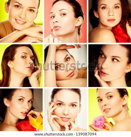 Collage of gorgeous woman posing in front of camera - stock photo