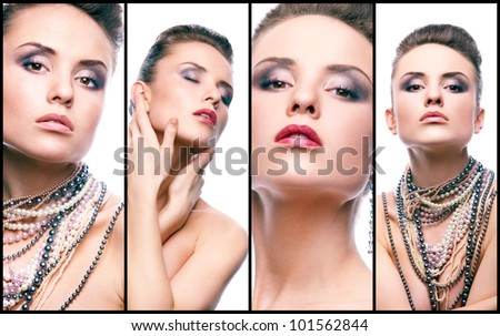 Collage of gorgeous woman with pearl beads looking at camera - stock photo